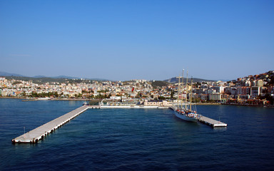 City and harbor at Kusadasi,  on the turkish coast