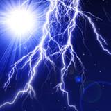 Lightning strike with brilliant star poster
