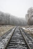 On photo railway linen. The Winter. Snow poster