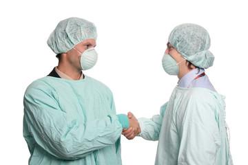 nurses shake hand