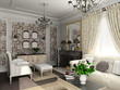 living-room with the classic furniture. 3D render. Living-room..