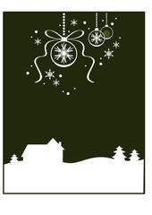 Dekorativer Winter- / Weihnachtshintergrund: Haus (grün)