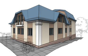 Illustration of Cottage. Decorative painting with inked outline.