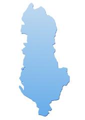 Carte de l'Albanie bleu