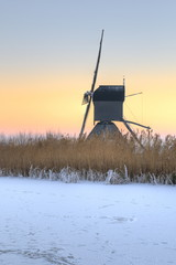Winter scene of a windmill in The Netherlands