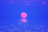 Beautiful pink sunset at the atlantic ocean in Portugal poster