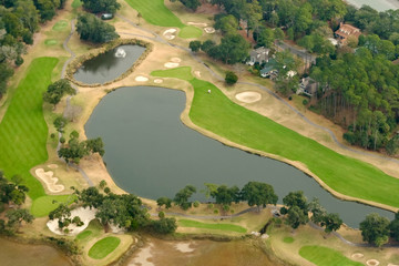 aerial view of expensive golf community