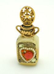 Vintage heart collage perfume bottle
