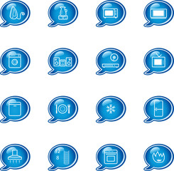 bubble household appliances icons