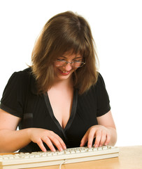 Girl with keyboard isolated at the white background