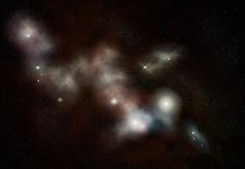 Digital created starfield with long cosmic Nebula