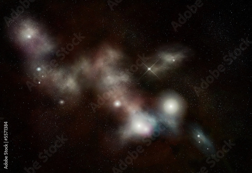 Digital created starfield with long cosmic Nebula
