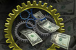 Several gears placed together with money in the background