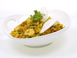 indonesisches curry nasi goreng mit shrimps poster