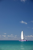 Sailing boat in the turquoise water of the tropics