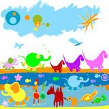 Naklejka Dinozaury, słoniki i inne zwierzątka