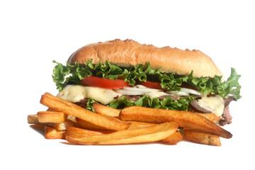 Steak Sandwich and Fries