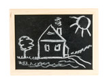 House. tree and sun  on chalk board poster