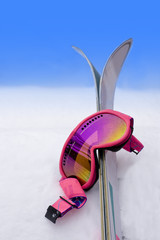Hot Pink Ski Goggles in Snow