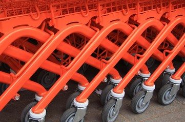 orange shopping   trolleys