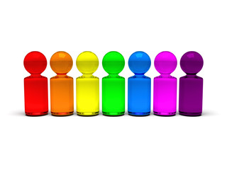 symbolic people in rainbow colors standing in a row