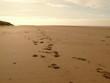 Footprints On Blackpool Beach