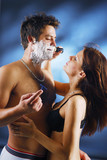 Pair during a shaving poster