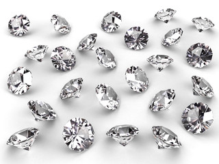 Several diamonds with realistic soft shadows on white