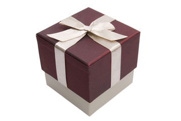 Gift box with bow isolated on a white background
