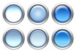 Blue buttons set with metal border isolated on white