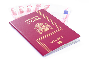 Spanish Passport with 10 curency euro on white background.