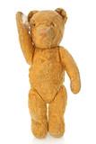 Vintage battered old teddy bear, standing. poster