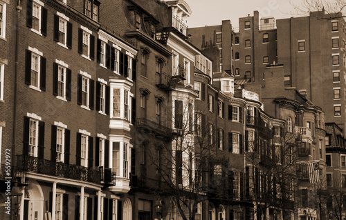 Sepia toned view of Beacon street in Boston