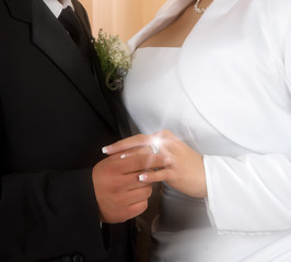 Wedding vows sealed with a ring ( a diamond is forever)