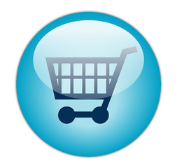 Glassy Blue Shopping Cart Button