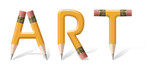 Yellow wooden pencils spelling Art word over white poster
