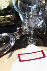 Table setting at a wedding with cutlery and crockery