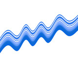 Wavy blue curvy stripes on white background poster