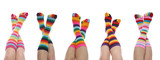 Fototapety Five women with colorful rainbow striped socks