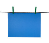 blue blank sheet on clothes-line for your notice poster