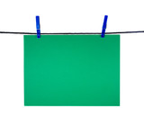green blank sheet on clothes-line for your notice poster