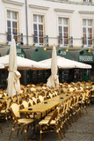 Empty restaurant patio in Vannes, Brittany, France poster