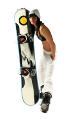 Girl in bikini with snowboard on white background