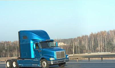 blue american truck on road of my trucks series