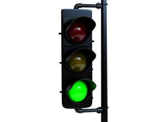 Traffic light green with light