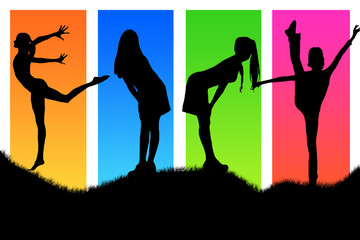 Four girls on verycolor background