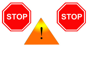 sign of the exclamation and sign of the stop