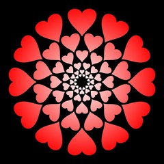 red hearts rings on black background