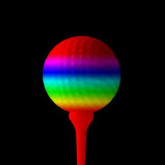 Close-up of golf ball overlaid with rainbow colours