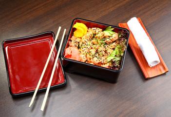 Japanese food: salmon fillet